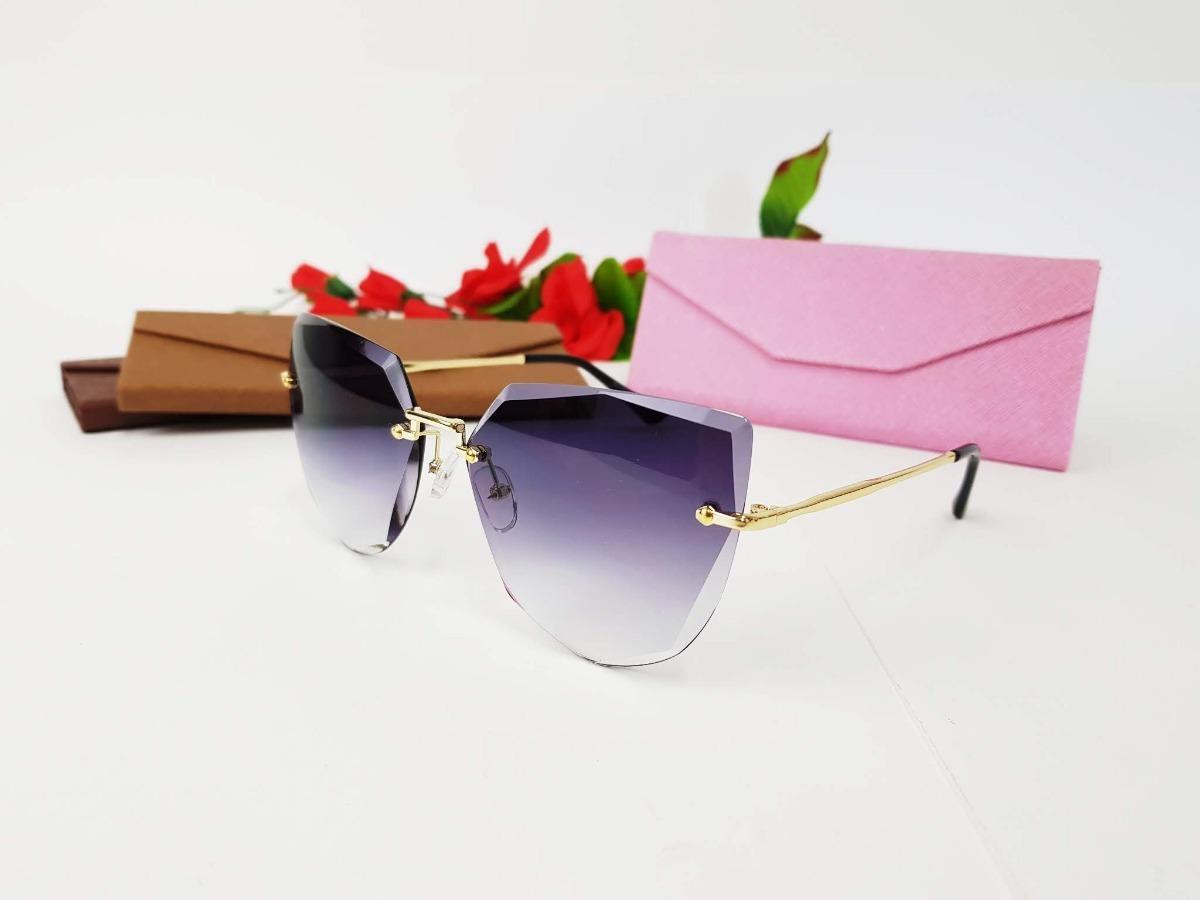 óculos de sol gatinho haste metal lente cristal proteção uv. Carregando  zoom. 43958a6040
