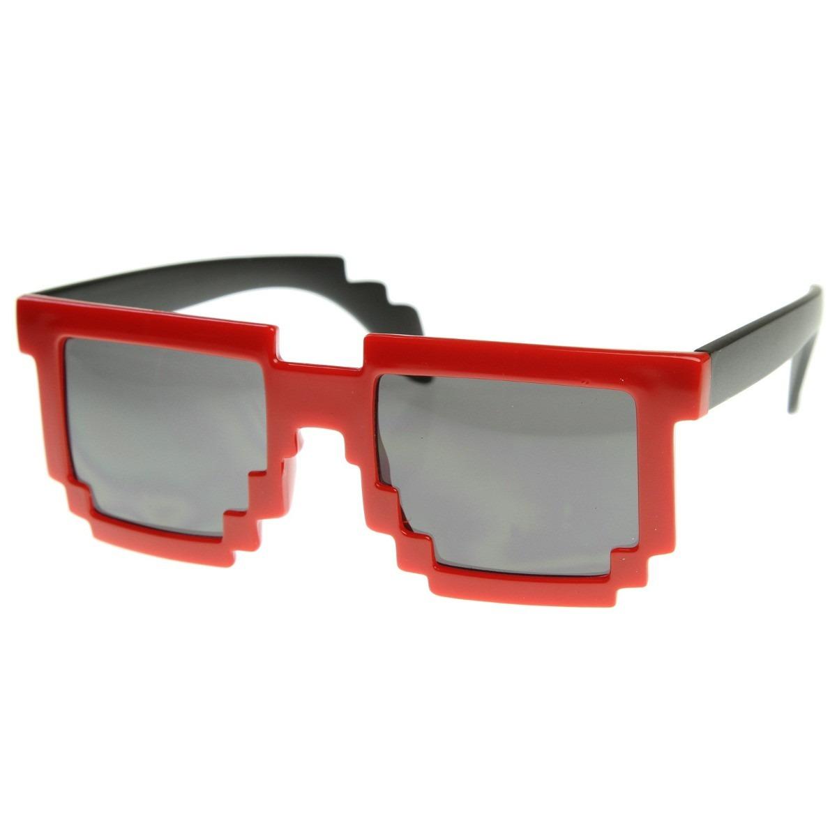 1370de2a77e88 Oculos De Sol Geek Fashion Pixel Minecraft Vermelho E Preto - R  57,87 em  Mercado Livre