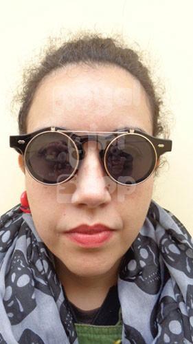74f56fefce893 Oculos De Sol Grau Duas Lentes Redondo Retro Flip Up - R  19