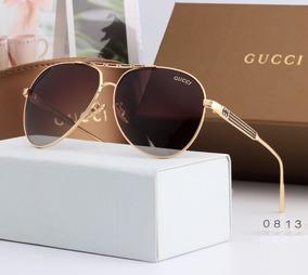 b9b12f46c Óculos De Sol Gucci Estilo Aviador - Lente Marrom/polarizado