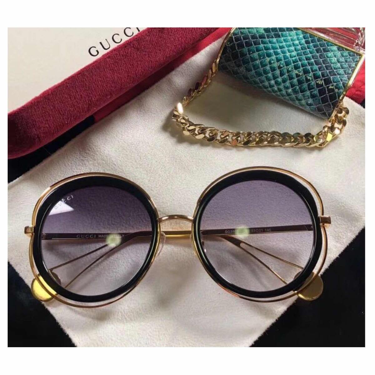 9a46778f07ddec  óculos de sol gucci feminino redondo haste metal pérola  novo. Carregando zoom. ba4f4a438a
