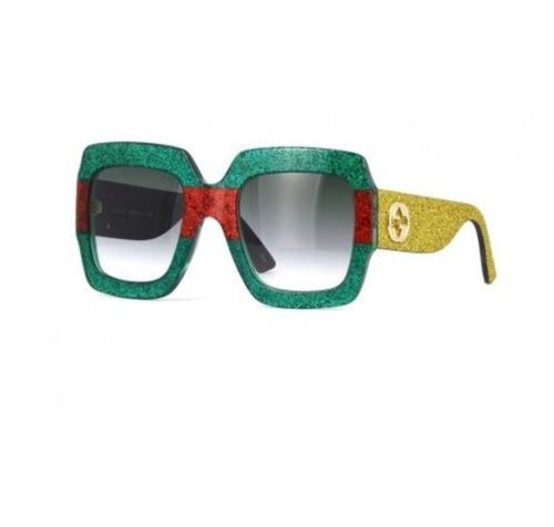 óculos de sol gucci gg0102s verde feminino - pronta entrega
