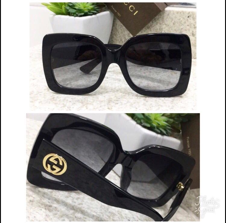 ... Óculos De Sol Gucci Quadrado Acetato Com Kit Frete Grátis - R 489 . 9a0df139fa