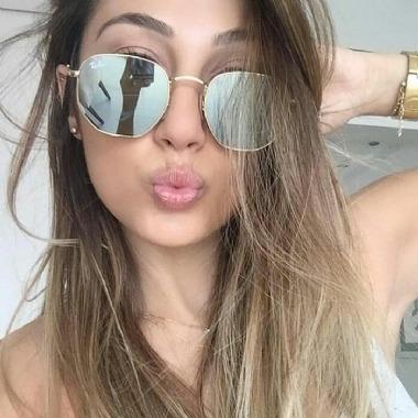 32e06e70a Oculos De Sol Hexagonal Prata Espelhado Masculino Feminino - R$ 89 ...