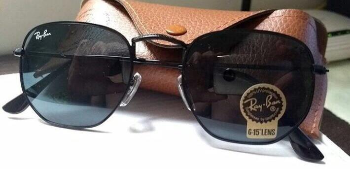 9dd47b994100e Óculos De Sol Hexagonal Todo Preto - R  79,99 em Mercado Livre