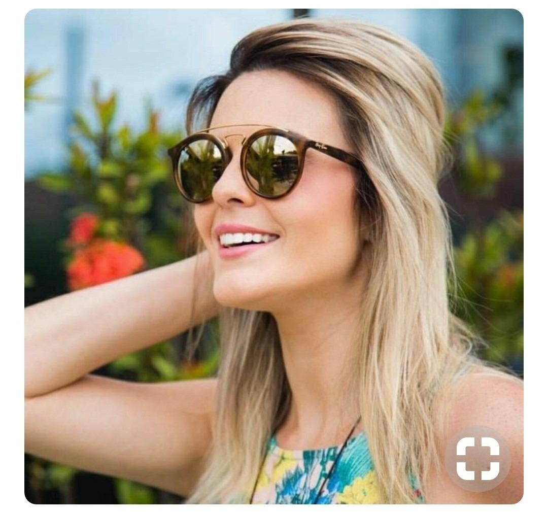 óculos de sol importado escuro lente espelhada dourado lindo. Carregando  zoom. 0919c1c688