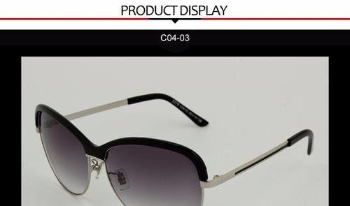 óculos de sol importado preto e prateado modelo vogue aimi