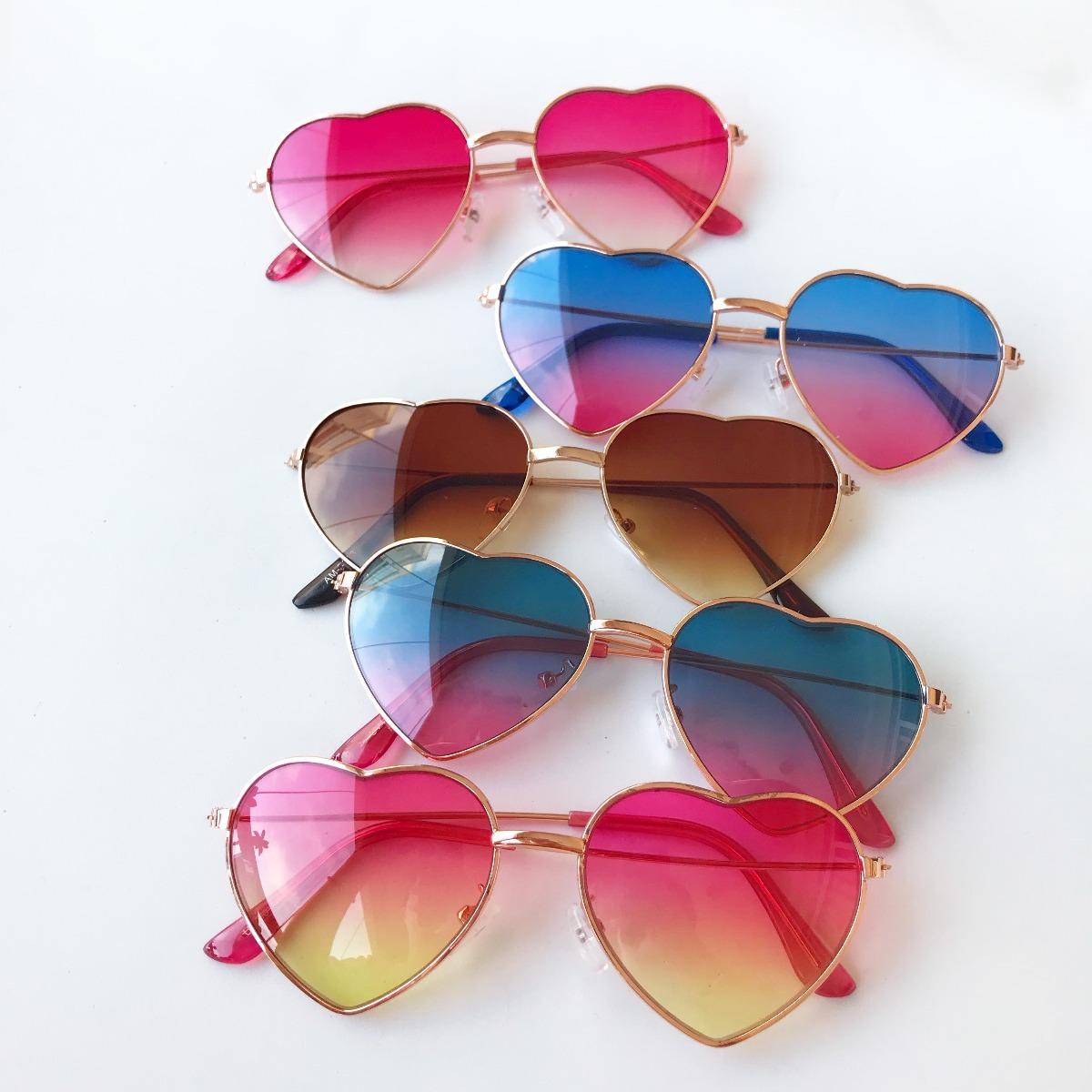 02757e29478c8 Óculos De Sol Infantil Coração Formato Com Proteção Uv 400 - R  29 ...