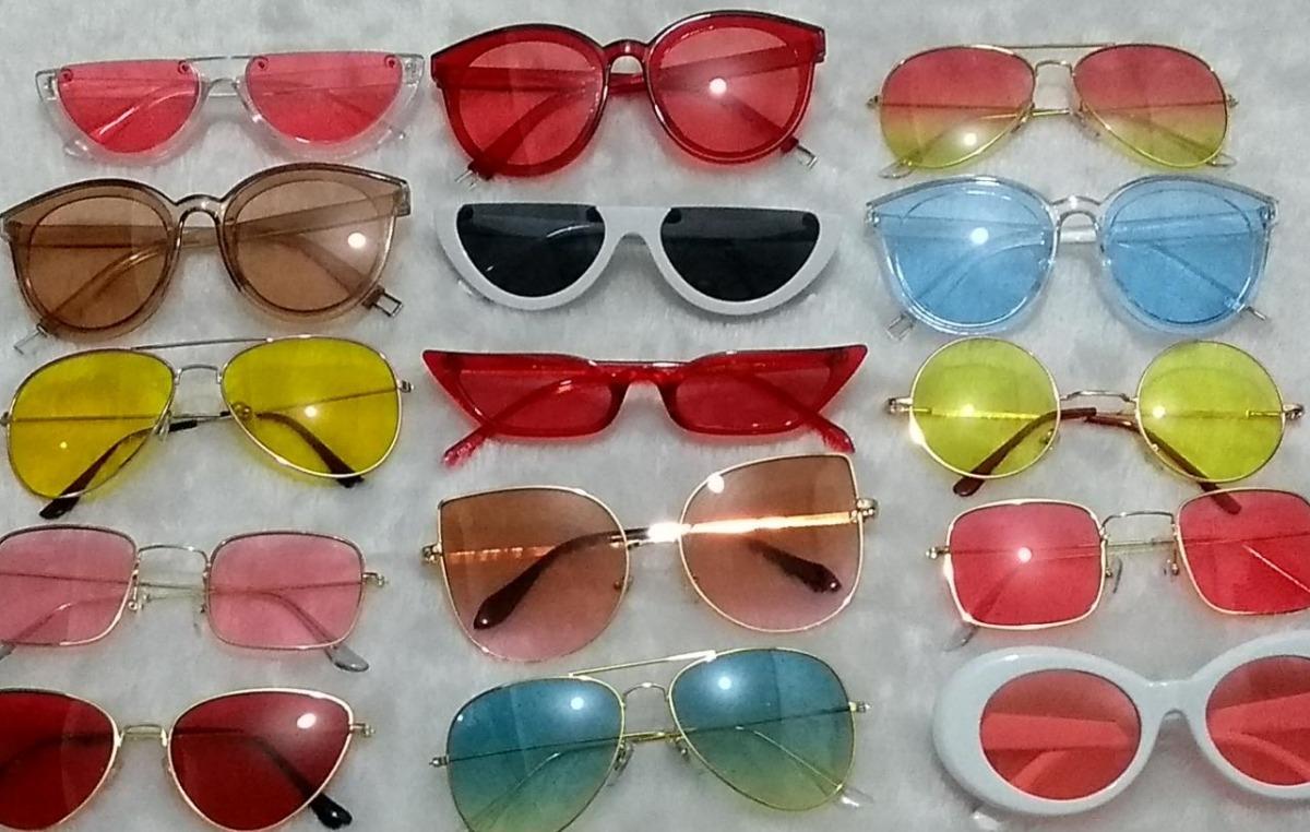 f2e4a1b8a Óculos De Sol Lente Colorida Transparente - R$ 45,59 em Mercado Livre