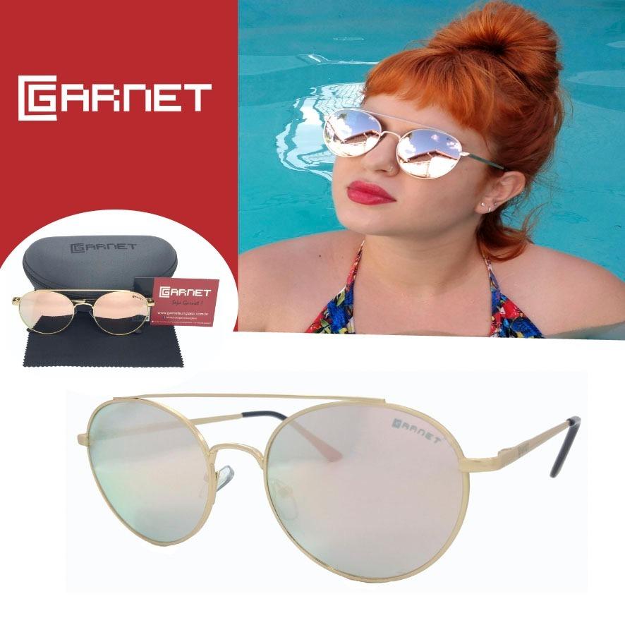 Óculos De Sol Lente Uva Redondo Fashion Espelhado Rose - R  89,00 em ... 28e7a40059