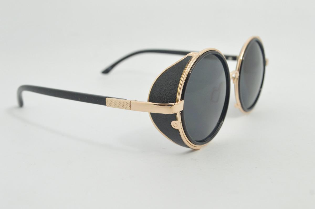 óculos de sol lentes redondas proteção lateral preto b88. Carregando zoom. e7a79f274a