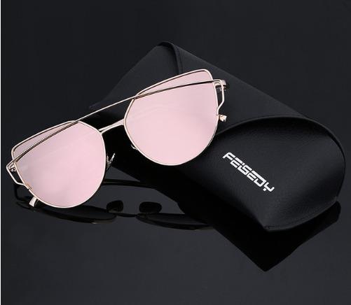 d03e23fc068c0 Óculos De Sol Love Punch Gatinha Reflexivo Rosa Feminino - R  30