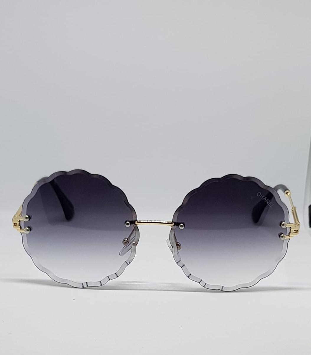 014815323 Óculos De Sol Luxo Chamel Redondo Preto - R$ 89,20 em Mercado Livre