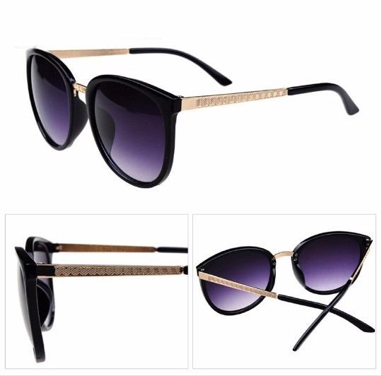 24b01ea49 Óculos De Sol Luxo Para Mulher Com Dourado Preto Feminino - R$ 41,32 ...