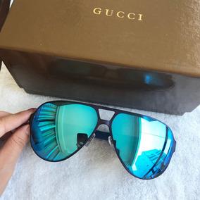 6b8e21191 Óculos De Sol Masculino Gucci Titânio Aviador Metal Com Case