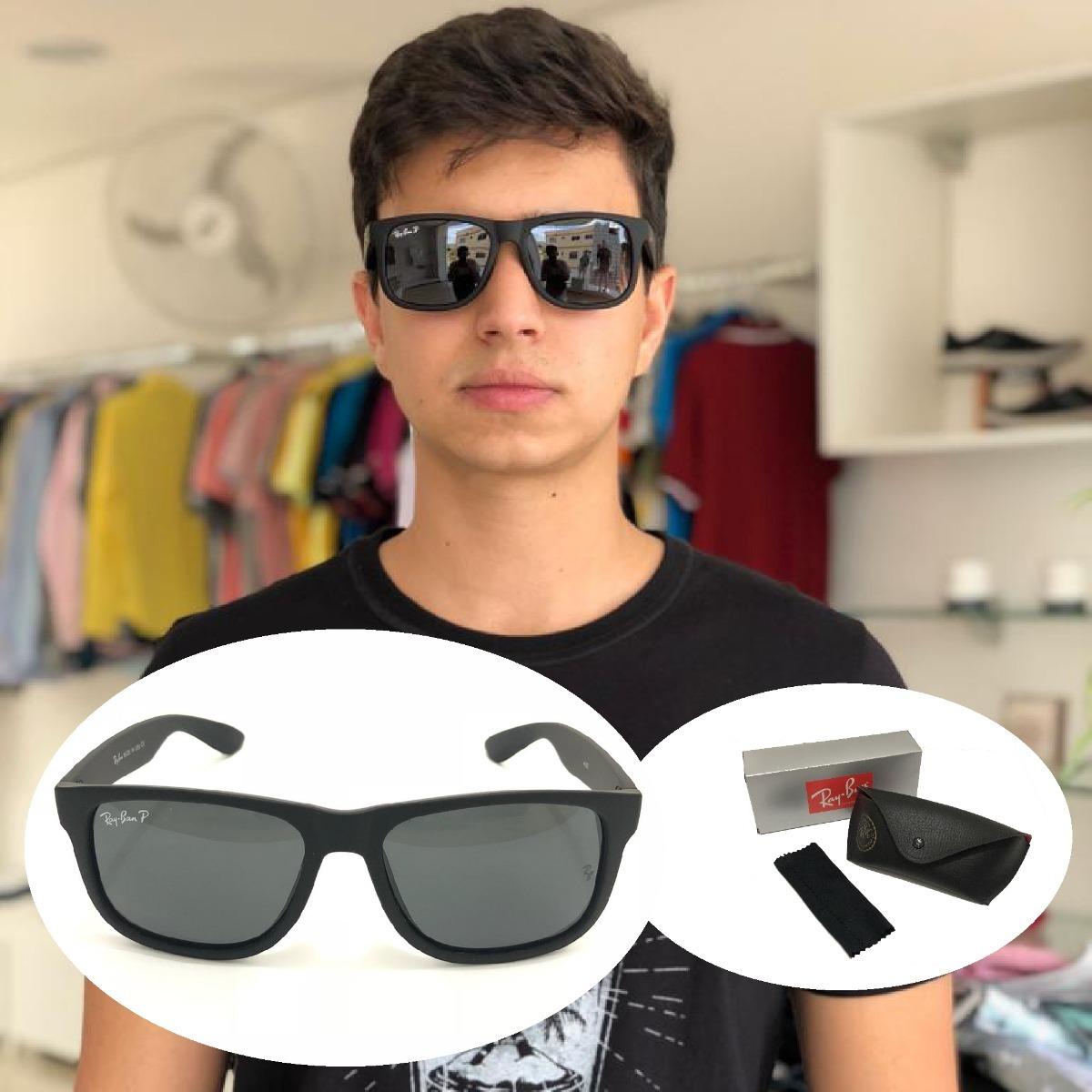 97a49a8a7 Oculos De Sol Masculino Justin Ray Ban Polarizado Rb4165 Top - R$ 33 ...