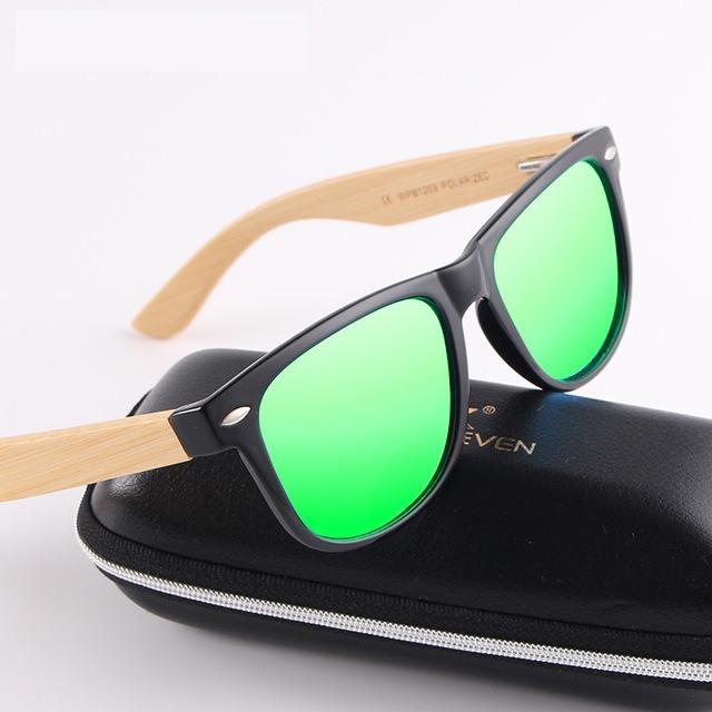 813b024f7 Óculos De Sol Masculino Kingseven Original Haste Em Bambu - R$ 85,49 ...