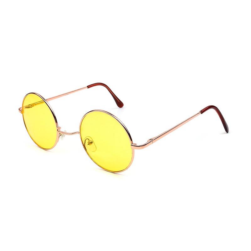 8e42a549add24 Óculos De Sol Maxi Redondo Amarelo Retrô - Nightdrive - R  49,00 em ...