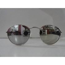 67e2a146e0593 Óculos De Sol Modelo Ovalado Prata Lentes Espelhado Prata - R  29