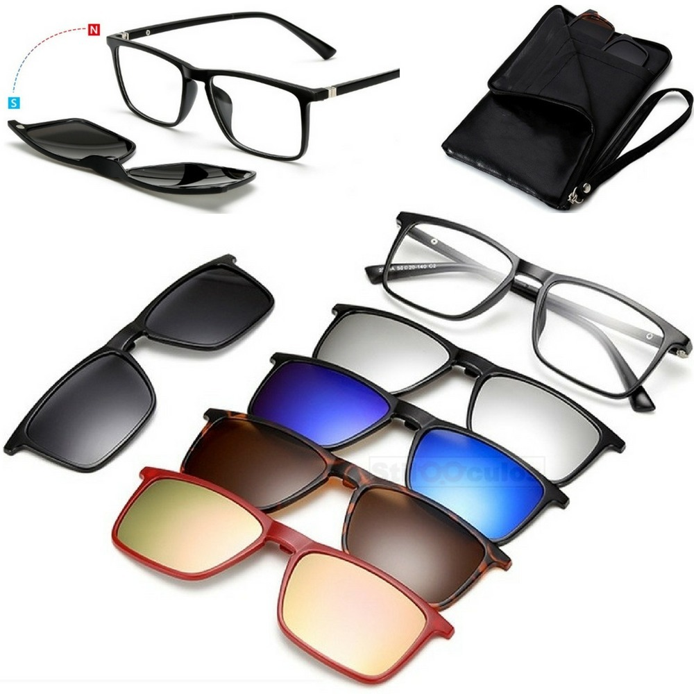 e982592fe6b30 Óculos De Sol Multi Lentes Clip On 6 Em 1 Polarizado Top - R  146