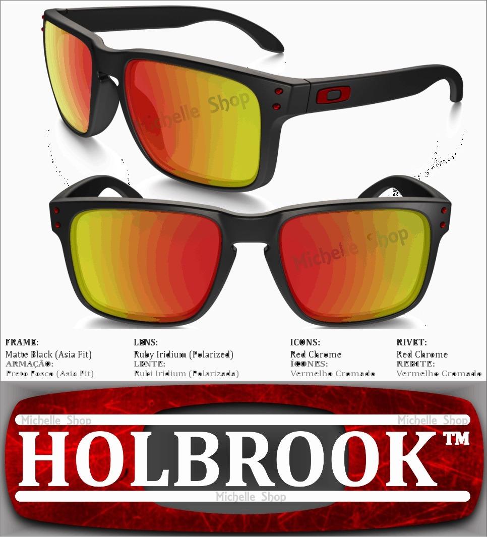 0b8863eec oakley holbrook lente vermelho armação preta