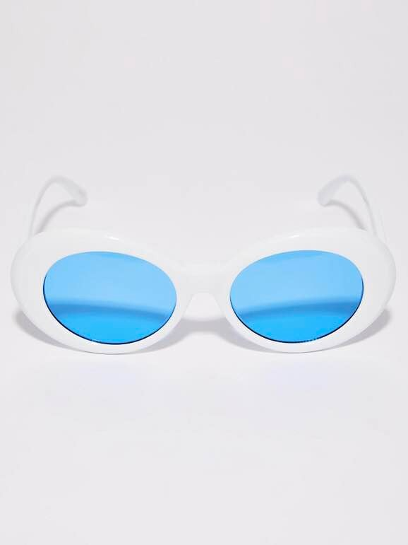 bcade7f3b Óculos De Sol Oval Kurt Cobain Nirvana Branco E Azul Tumblr - R$ 45 ...