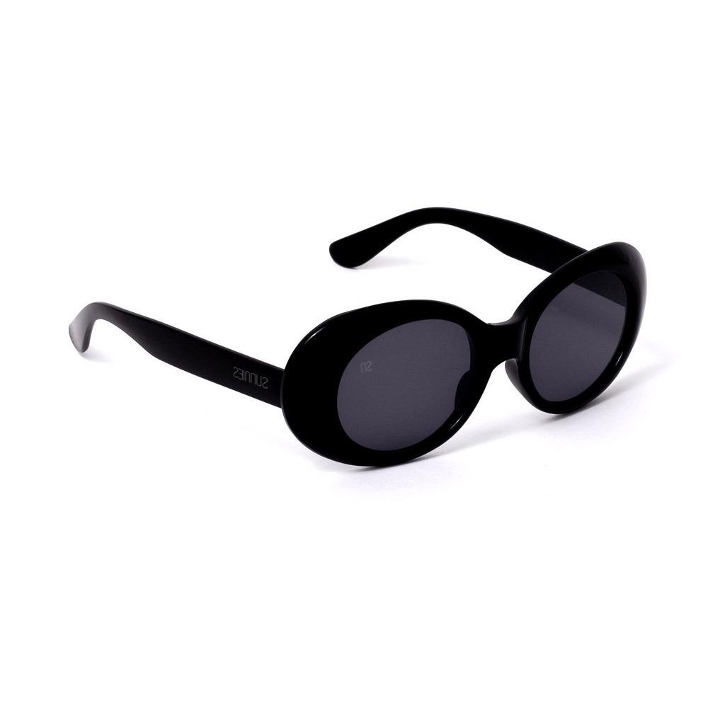 58fa25147 Óculos De Sol Oval Preto - R$ 95,12 em Mercado Livre
