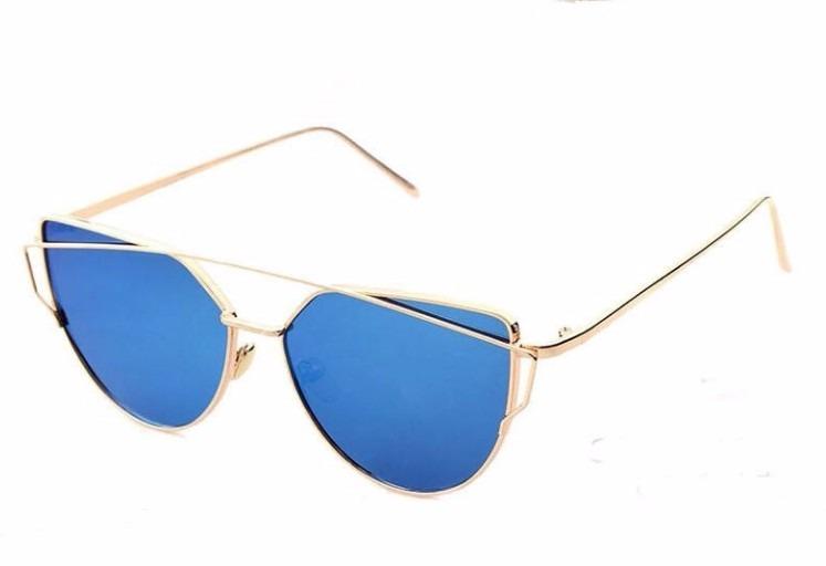 eaec3b0fdc85d Óculos De Sol P Mulher Dourado Lente Azul Espelhado Feminino - R  67 ...