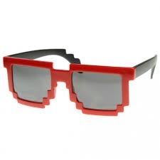582e86b0ad53a Óculos De Sol Pixel Escuro Armação Vermelha 8 Bits Nerd Geek - R  23 ...