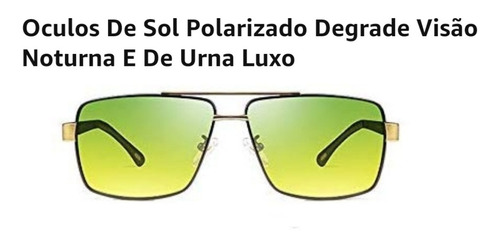 óculos de sol polarizado degradê visão noturna e urna luxo
