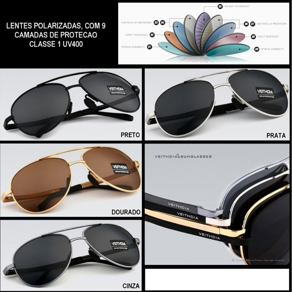 óculos de sol polarizado masculino proteção uv400 aviador. Carregando zoom. 2369fc60c9