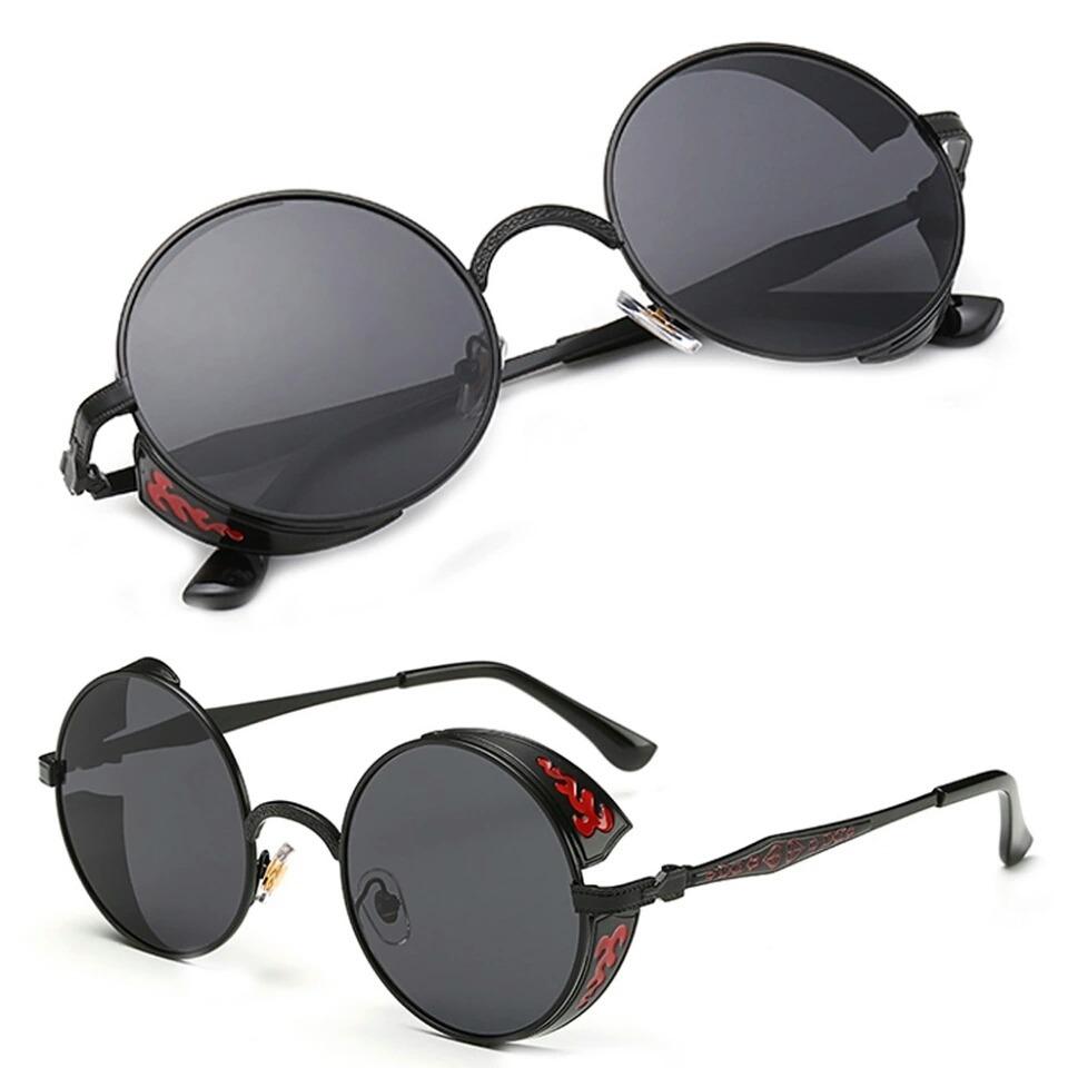 f0be0cce8 Óculos De Sol Preto Redondo Steampunk Vintage Vermelho Uv400 - R ...