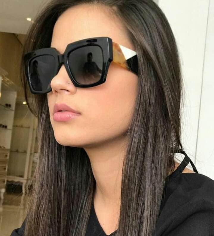 511a2db68b3d7 Óculos De Sol Quadrado Feminino Fendi Preto E Tartaruga - R  339