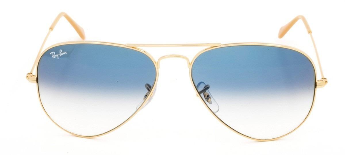 db11f7f28 óculos de sol ray ban aviador 3025 dourado com azul + brinde. Carregando  zoom.