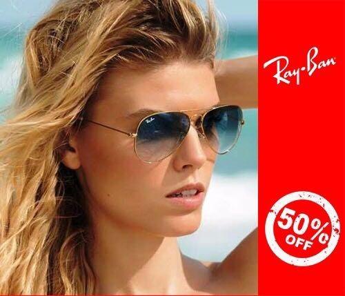 a1f58a0be Óculos De Sol Ray Ban Aviador 3025 Dourado Com Azul + Brinde - R ...