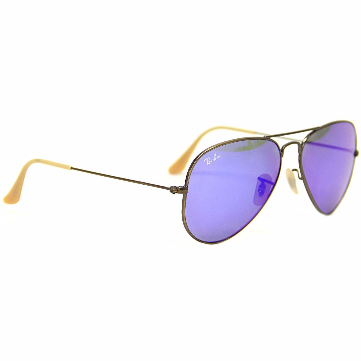 4e676903ae854 óculos de sol ray ban aviador 3025 lente roxa espelhada. Carregando zoom.