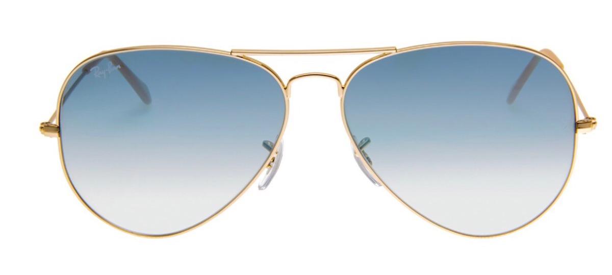 óculos de sol ray-ban aviador 58 dourado lente azul degradê. Carregando  zoom. 9e9beb0e57