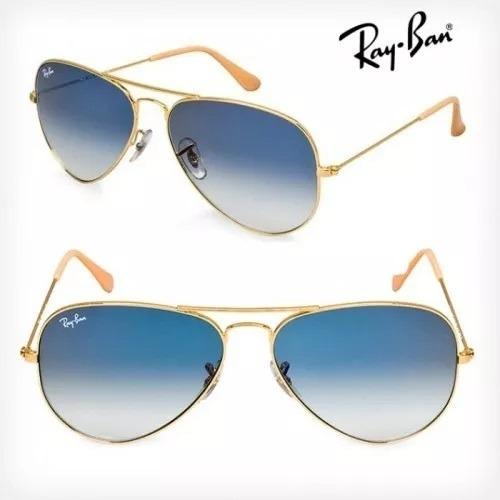 7a235ea2d9cbb Óculos De Sol Ray Ban Aviador Azul Degradê Lente Cristal - R  123