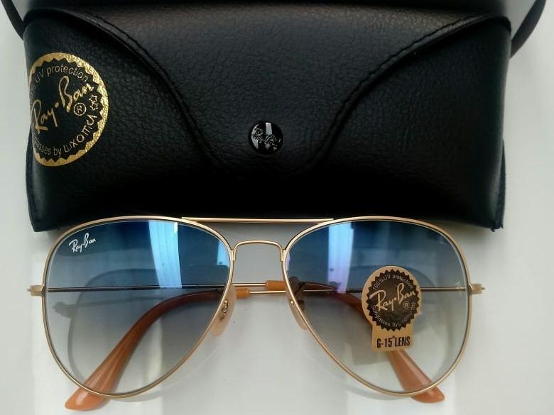 440fe76ec Oculos De Sol Ray Ban Aviador Azul Degrade Rb3025 - R$ 299,99 em ...