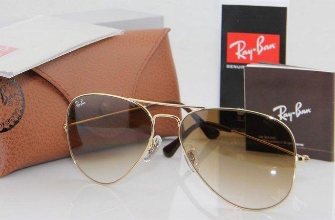 Óculos De Sol Ray Ban Aviador Marrom Degradê Lente Cristal - R  123 ... a8cff08fd2