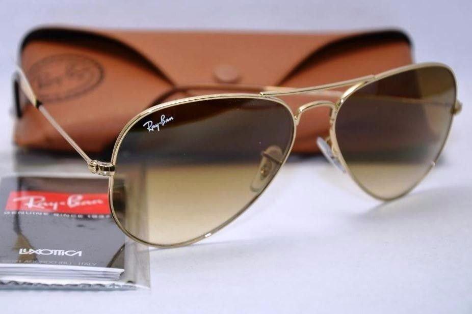 f2a74578df0ea óculos de sol ray ban aviador marrom degradê lente cristal. Carregando zoom.