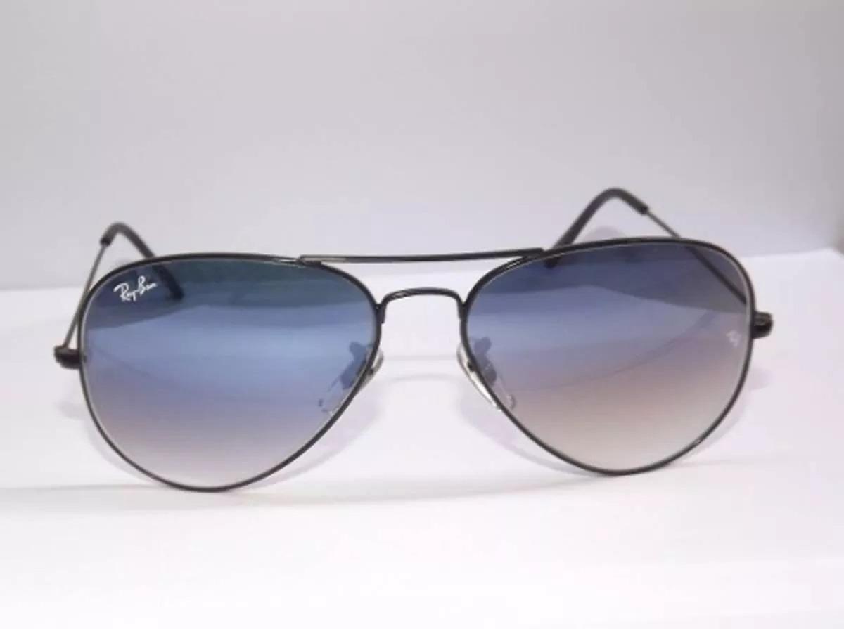 6bc330c050775 Óculos De Sol Ray Ban Aviador Preto Degradê Original - R  298