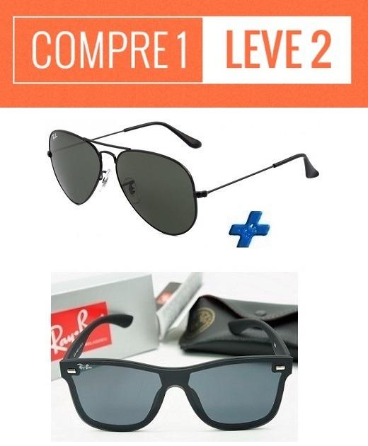 689739cd79bcf Oculos De Sol Ray Ban Aviador + Rb Blaze   Compre 1 Leve 2 - R  134 ...