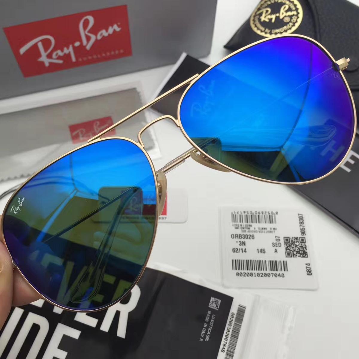 3b26e58ab oculos de sol ray ban aviador rb3025 rb3026 azul original. Carregando zoom.