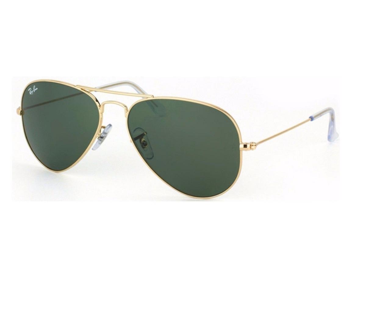 f872aa4e2ff79 óculos de sol ray ban aviador verde g15 dourado original. Carregando zoom.
