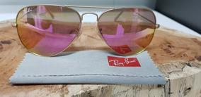 f6029ec55 Óculos De Sol Ray-ban Aviator Rb3025 112/4t Pink Espelhada