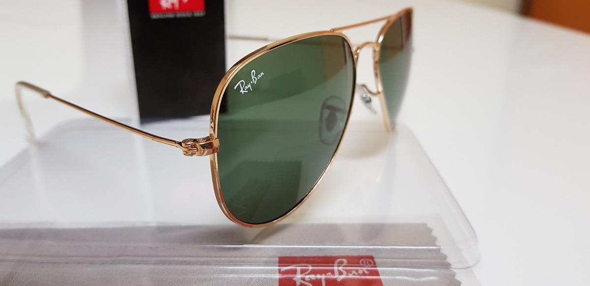 d588027d9b28d óculos de sol ray-ban aviator rb3025 ouro lentes verdes g15. Carregando  zoom.