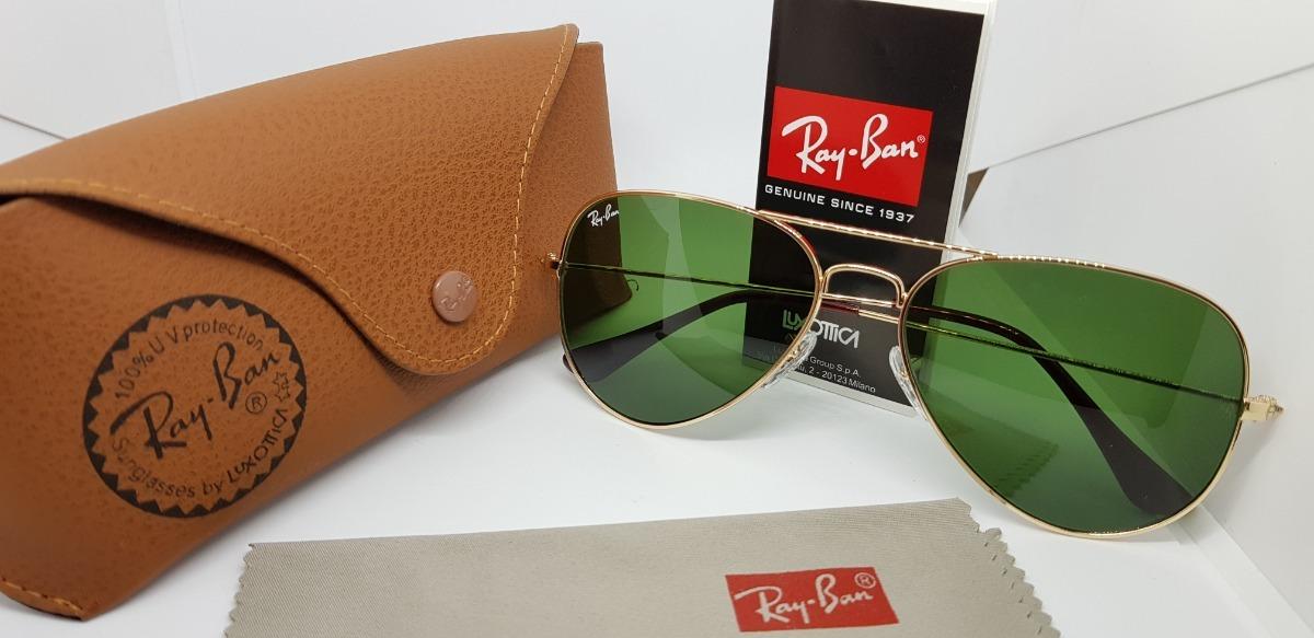 d5d8fea09 Óculos De Sol Ray-ban Aviator Rb3025 Ouro Lentes Verdes G15 - R$ 310 ...