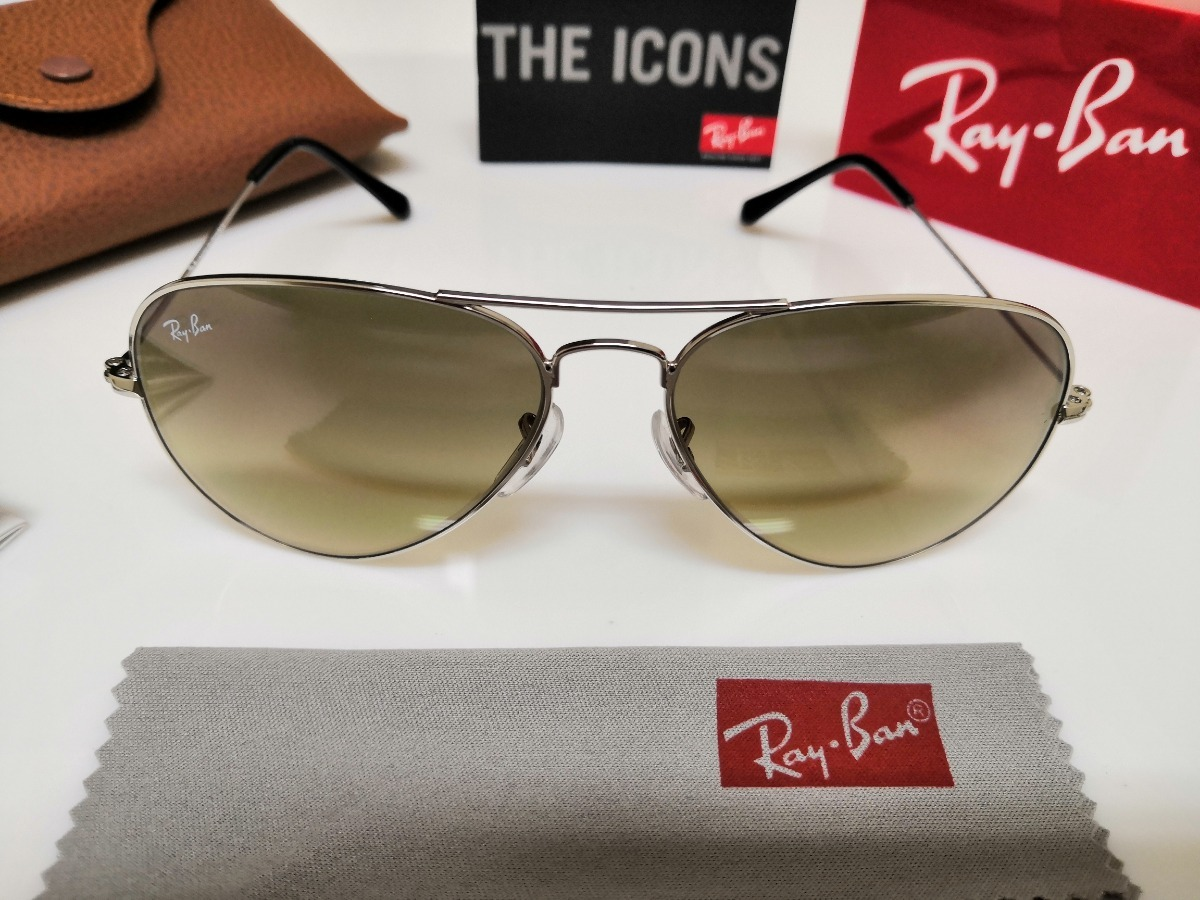 066b3c1ce Óculos De Sol Ray-ban Aviator Rb3025 Verde Degradê E Cromado - R ...