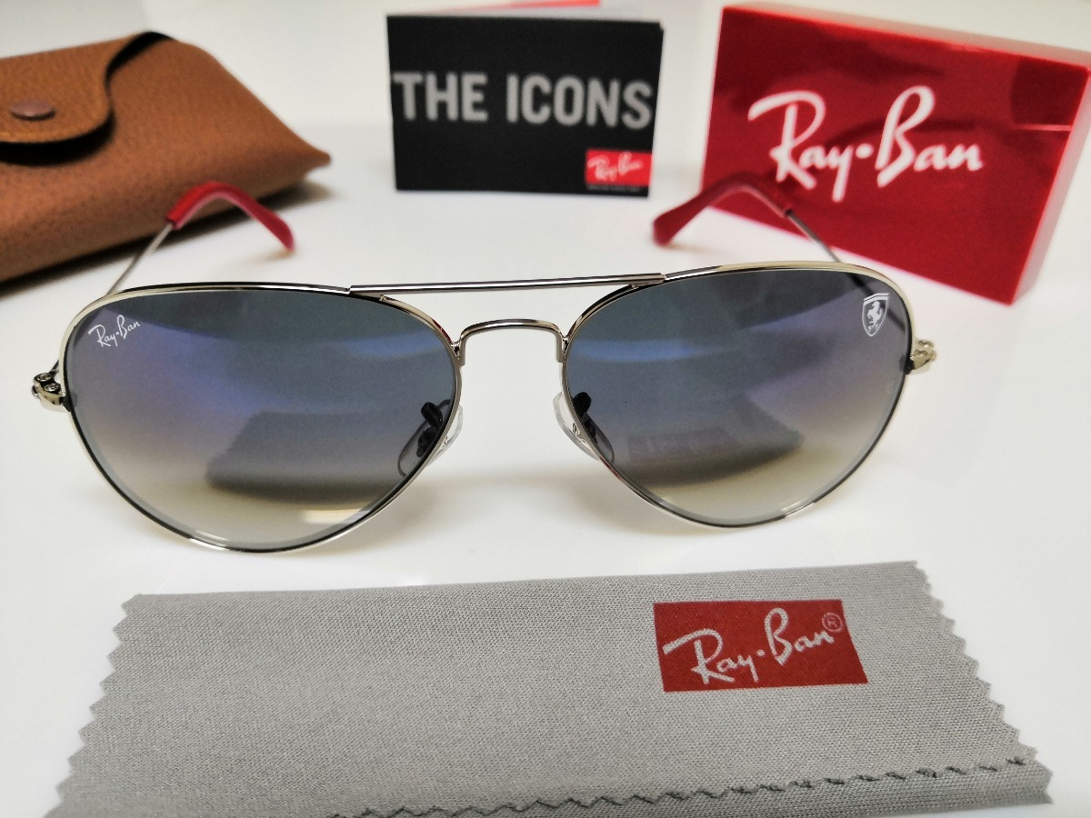 b5c92aff63642 Óculos De Sol Ray-ban Aviator Scuderia Ferrari Azul Degradê. - R ...